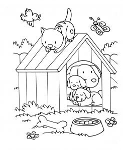 Coloring page cat free to color for kids : Kennel with cats and dogs
