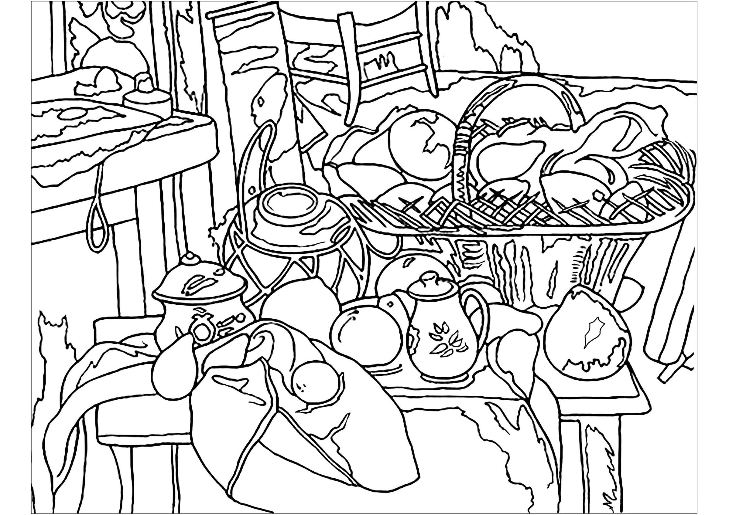 Simple Paul Cezanne coloring page