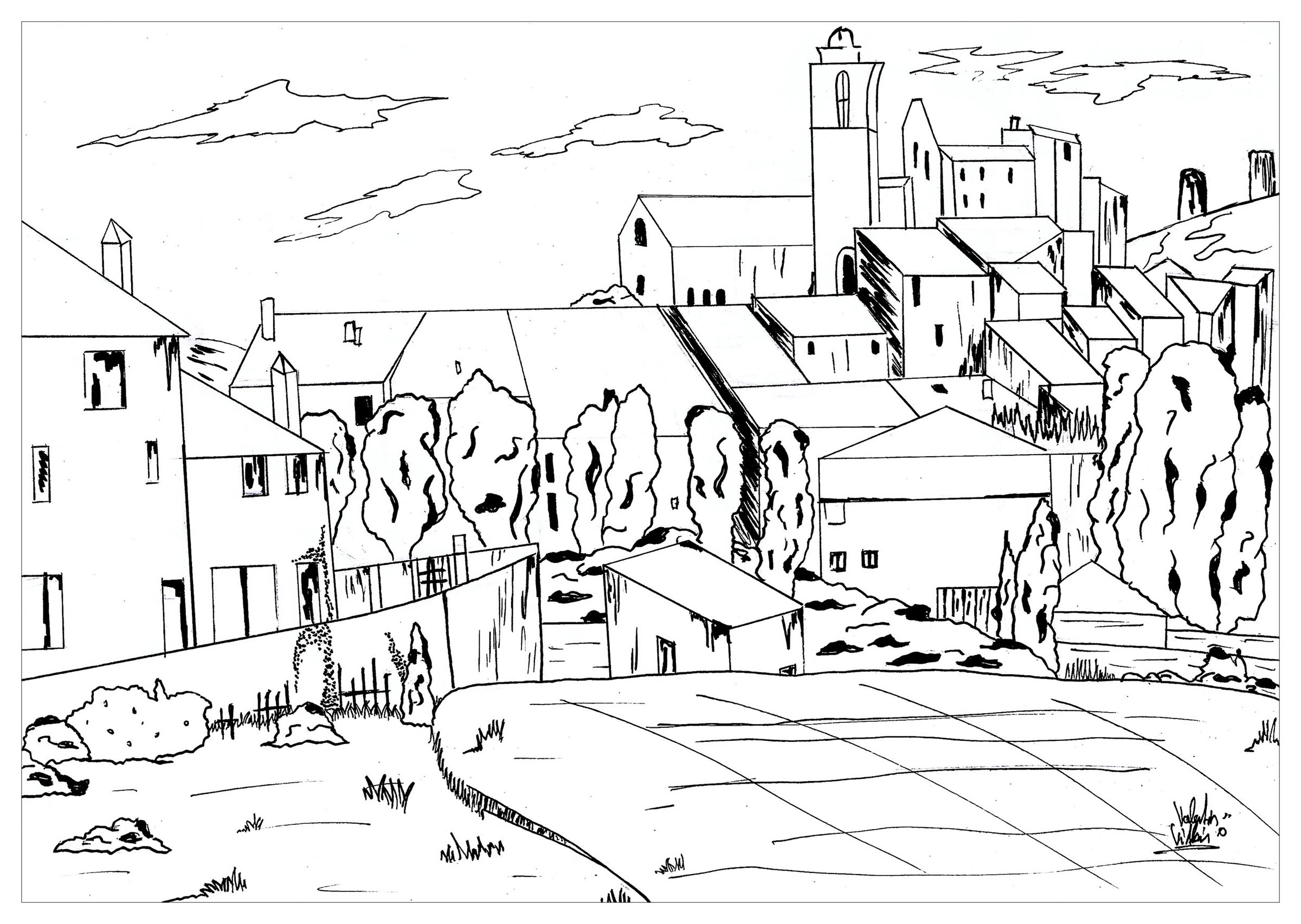 Simple Paul Cezanne coloring page for children