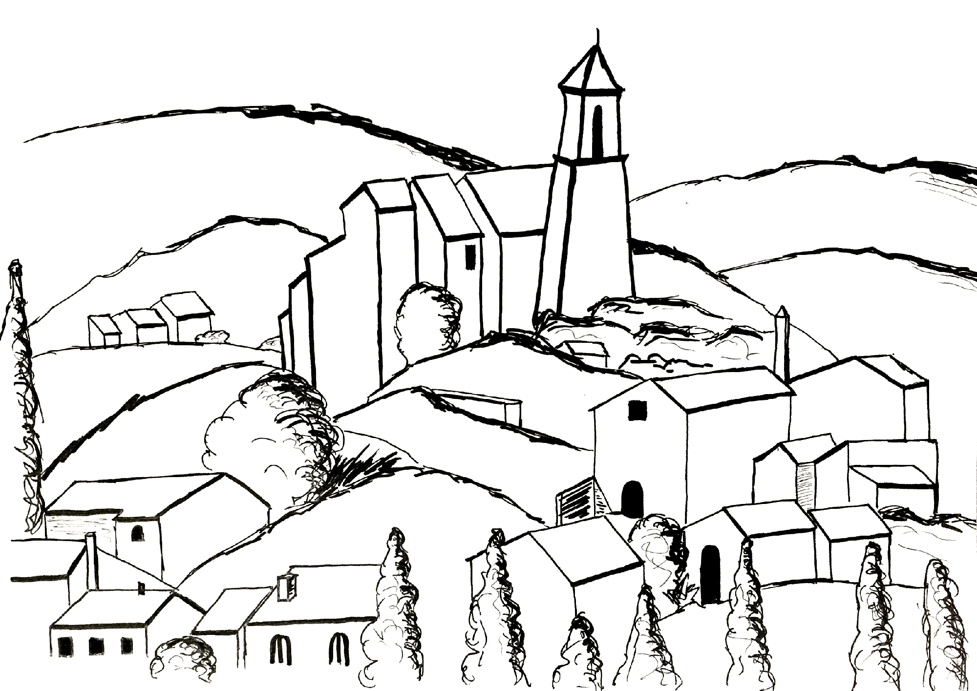 Funny Paul Cezanne coloring page for children