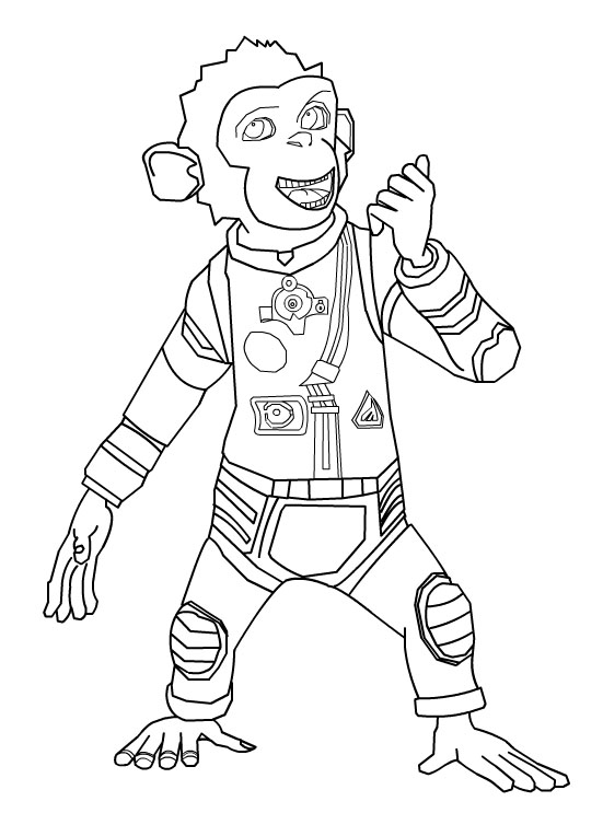 Funny Chimpanzees In Space coloring page