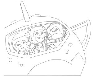 Coloring page chimpanzees in space to download