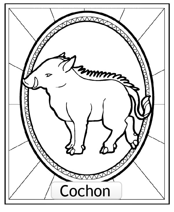 Easy free Chinese Astrological Signs coloring page to download