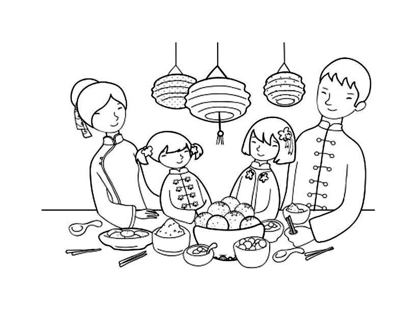 Cute free Chinese New Year coloring page to download