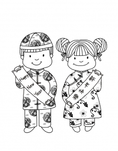 Coloring page chinese new year to color for children