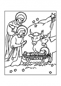 Coloring page christmas crib for kids