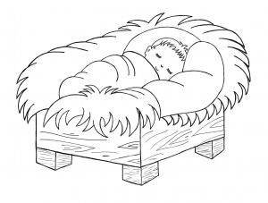 Coloring page christmas crib free to color for kids