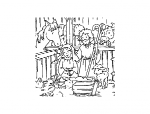 Coloring page christmas crib to download