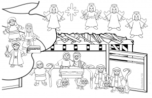 Coloring page christmas crib to color for kids