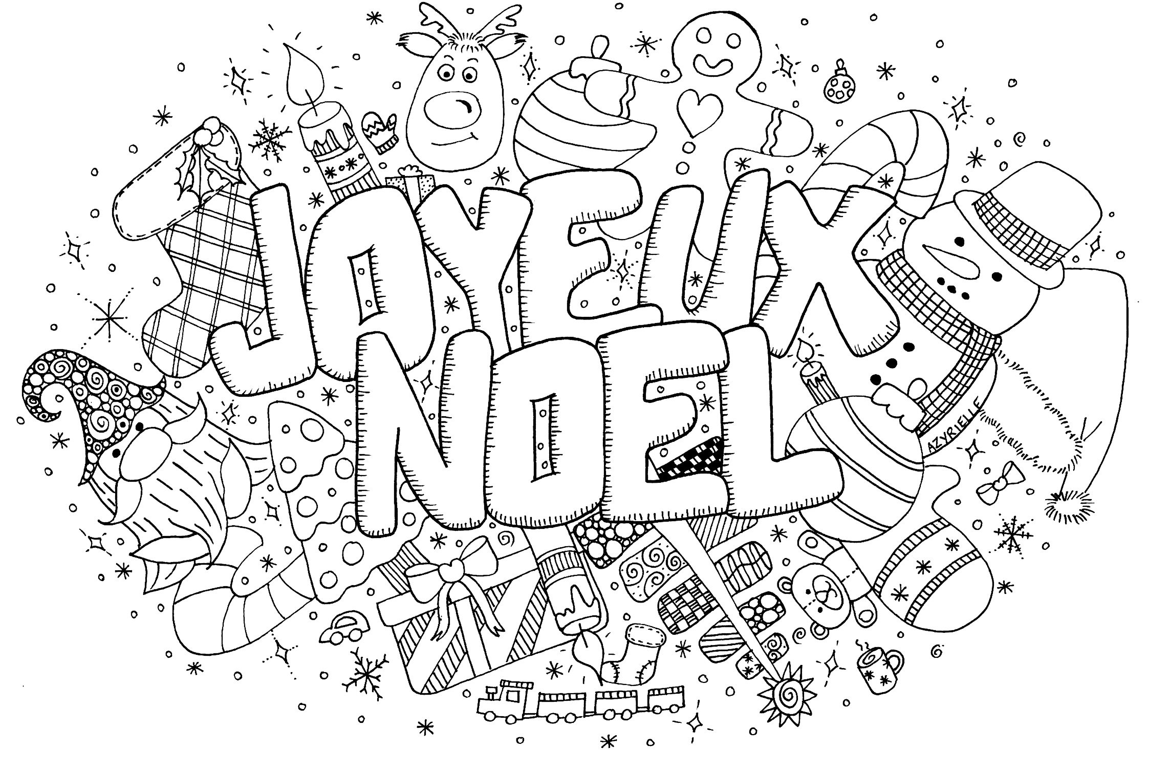 Beautiful Christmas coloring page to print and color