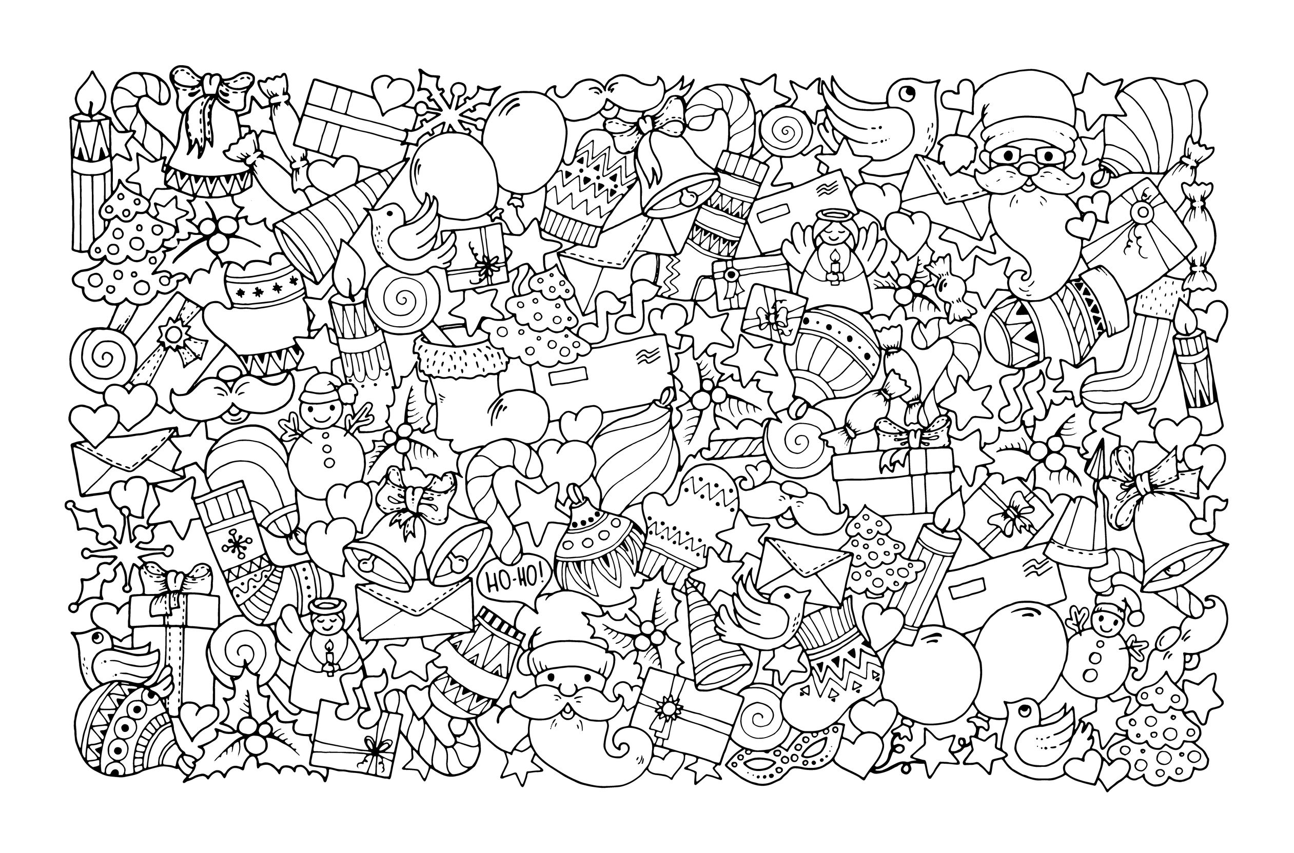 Christmas theme. doodle background with balloon, bells, sweets, christmas socks, gift, mittens, envelope, letter, tree, star, candle, bird, snowman, ball, bow, heart and Santa Claus.