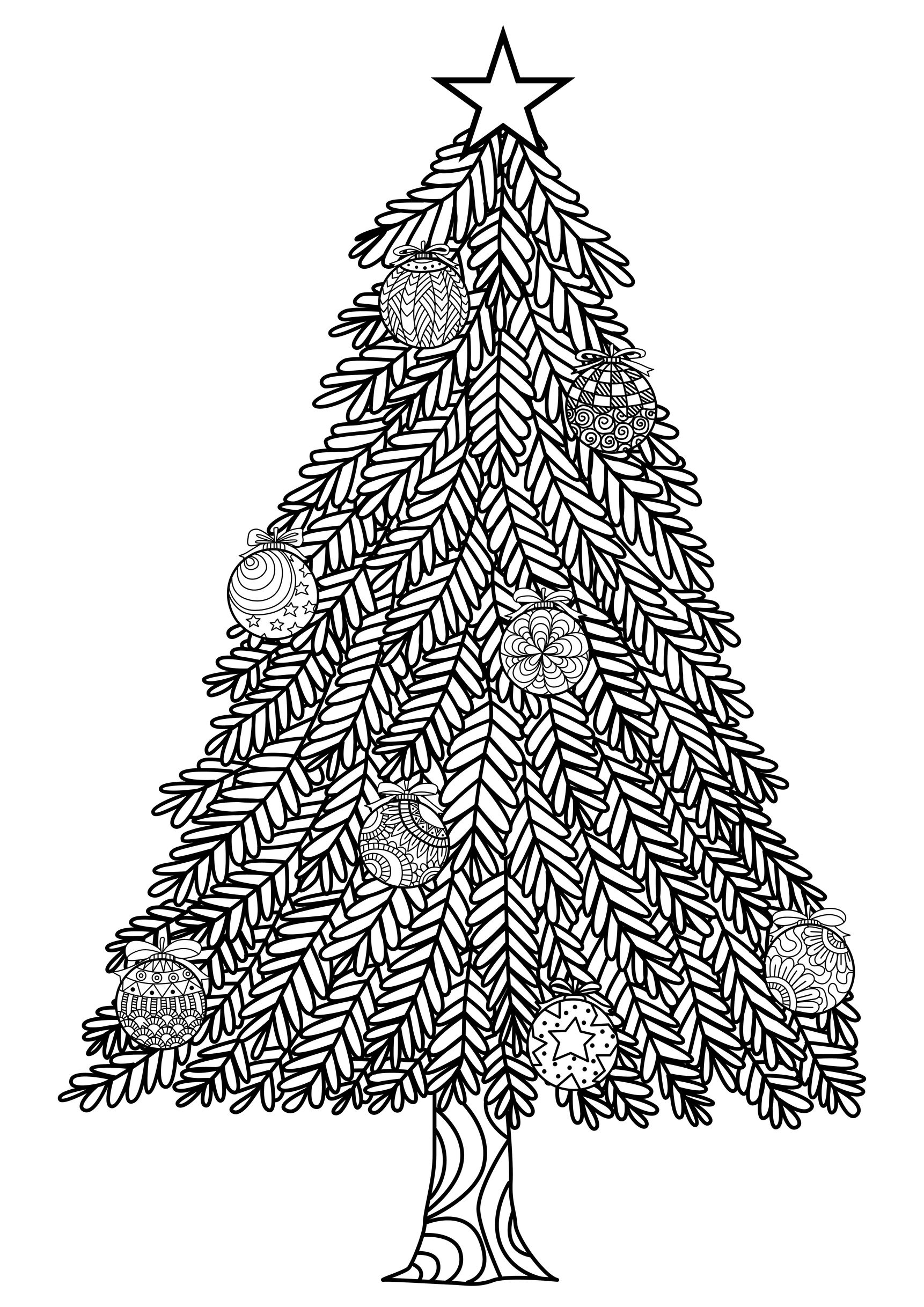 Hand drawn christmas tree zentangle style with christmas balls and gift boxes.