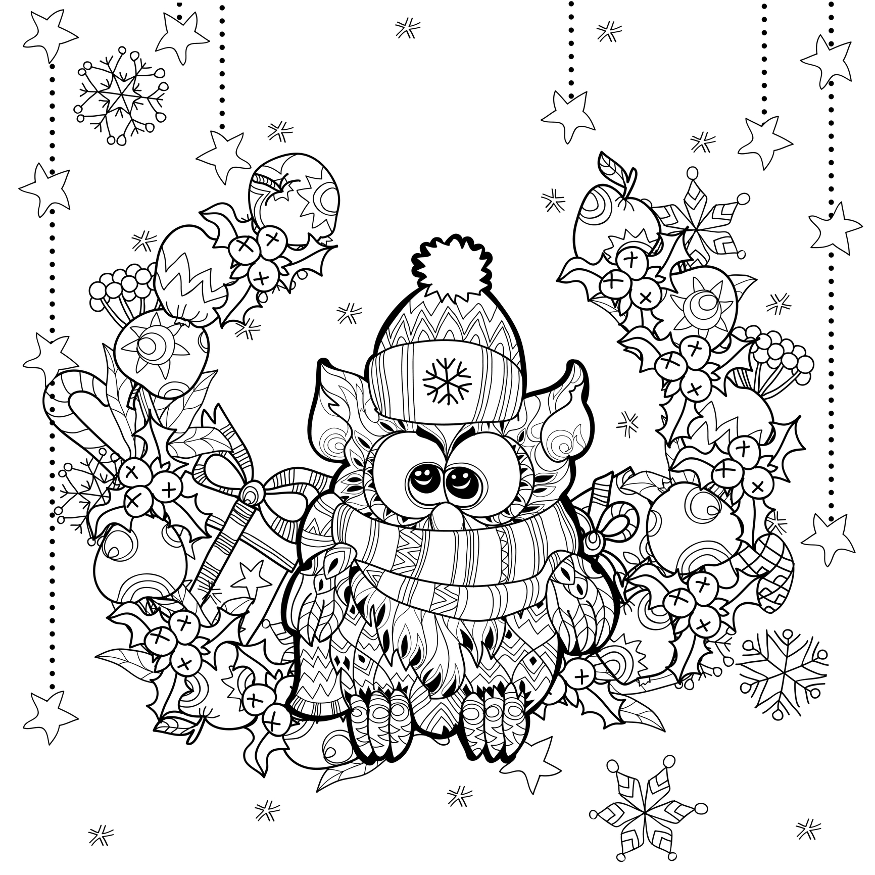 Simple Christmas coloring page for children : this cute owl just want some colors