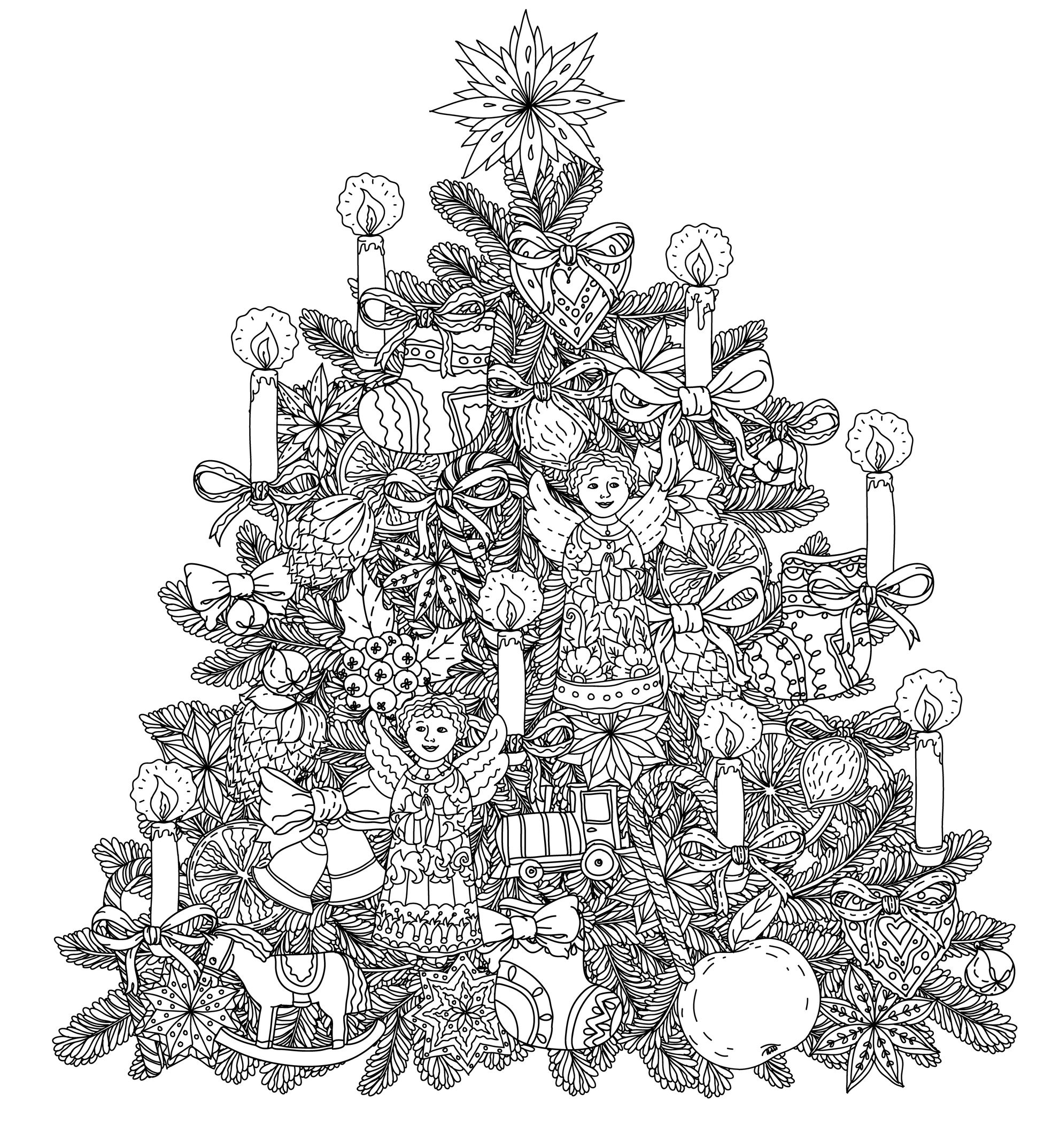 Christmas tree ornament with decorative items, black and white.
