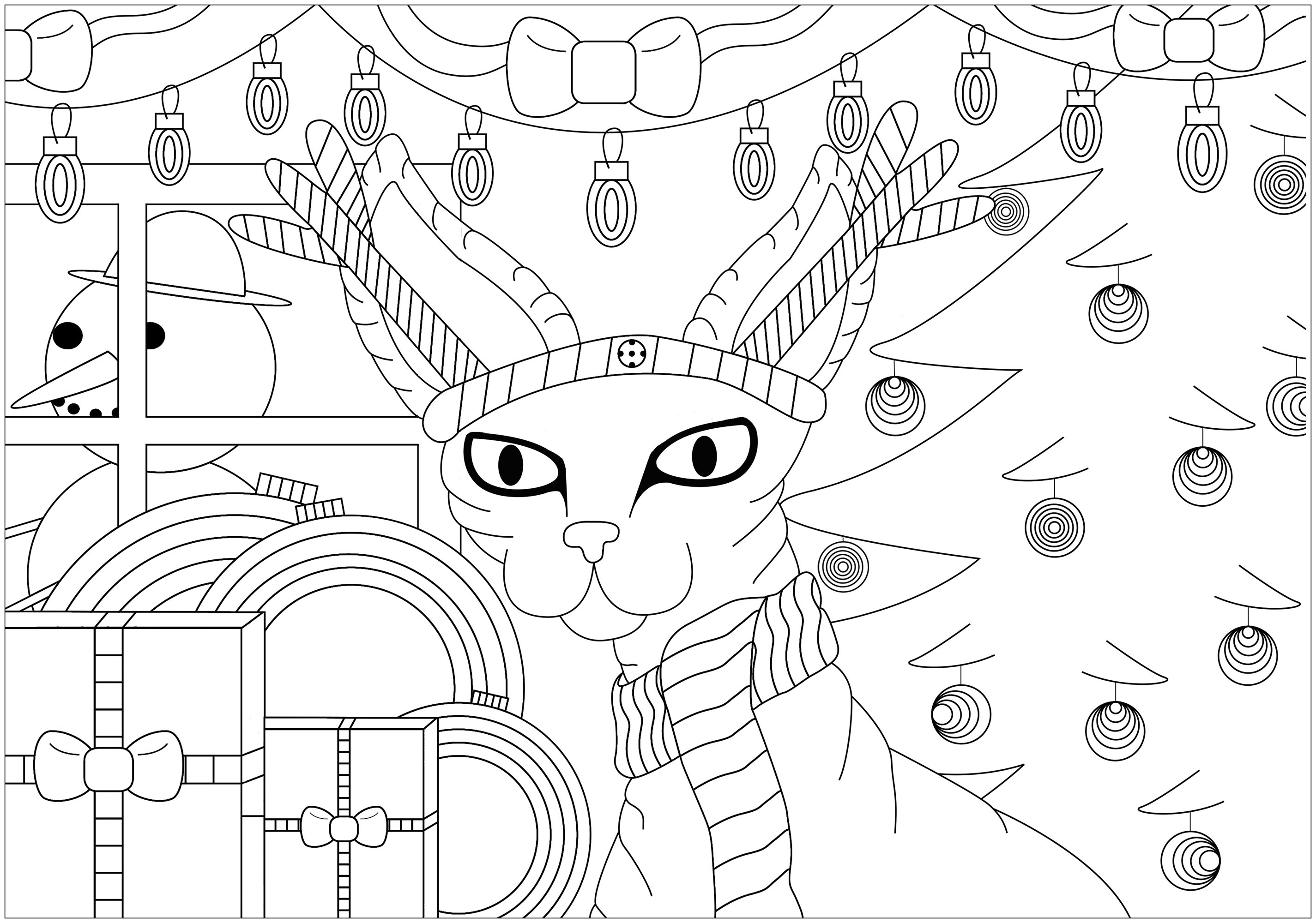 Simple christmas coloring page for children