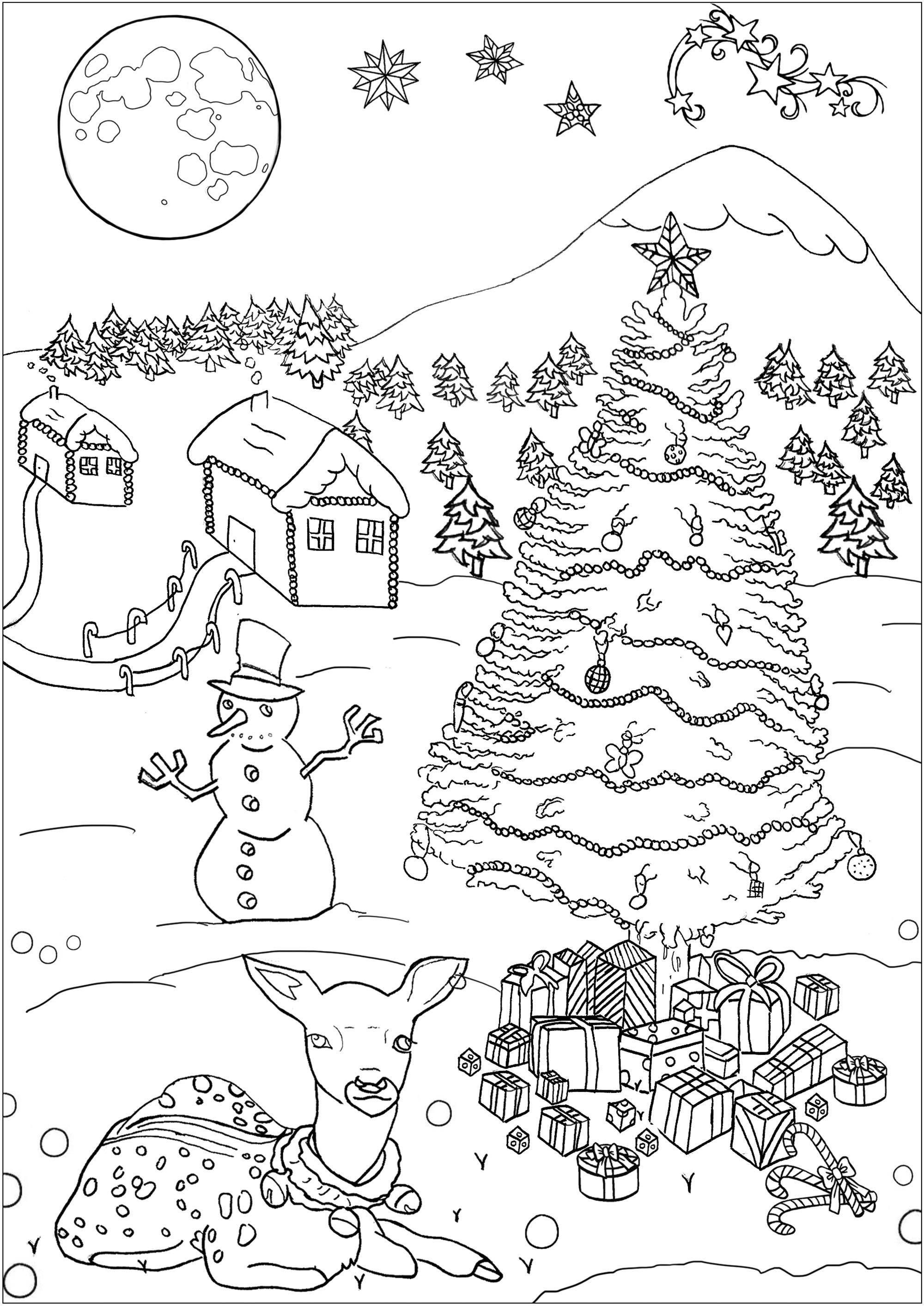 Funny Christmas coloring page for kids