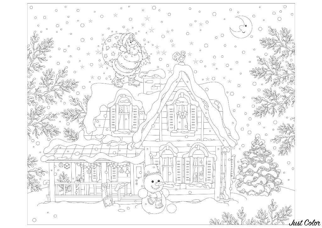 Free Christmas coloring page to print and color, for kids