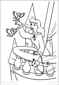 Coloring page cinderella to color for kids