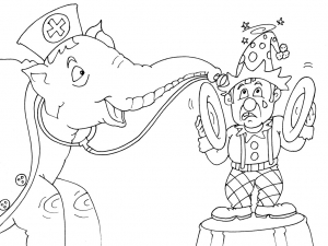 Coloring page circus to color for kids