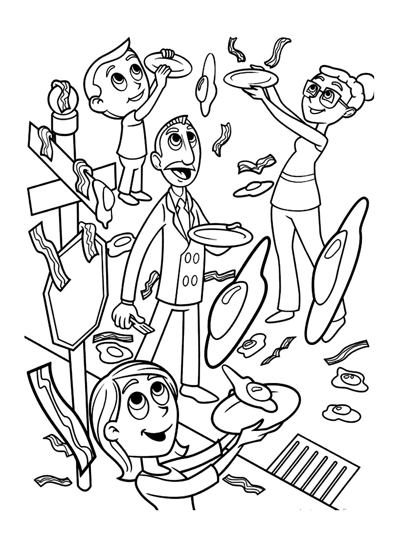 Simple Cloudy with a Chance of Meatballs coloring page