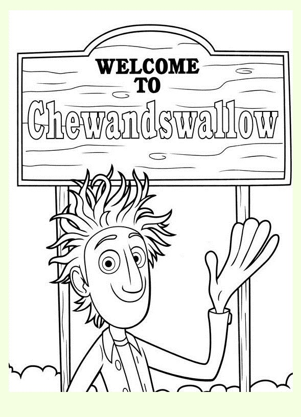 Funny Cloudy with a Chance of Meatballs coloring page for kids