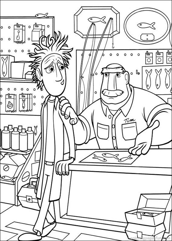Cloudy with a Chance of Meatballs coloring page to print and color for free