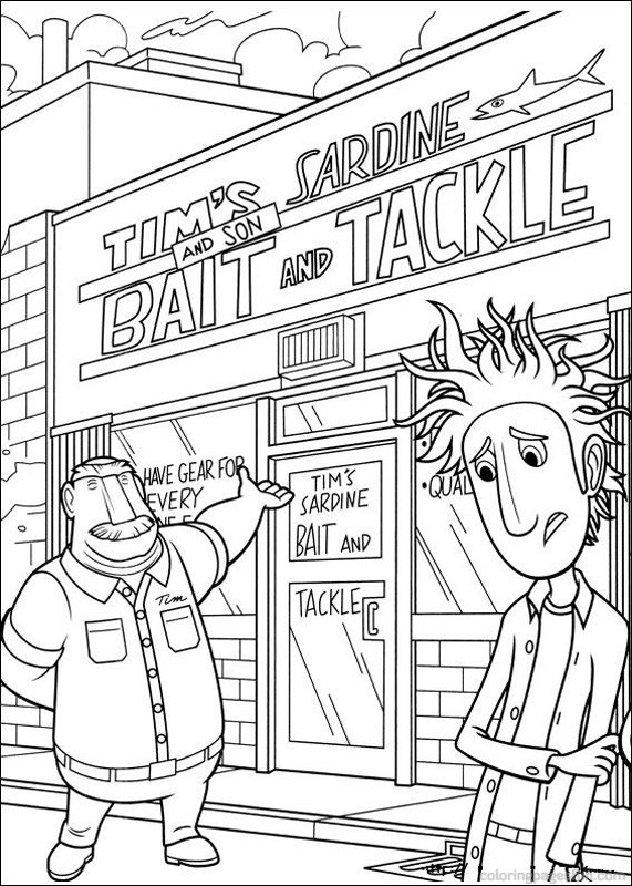 Simple Cloudy with a Chance of Meatballs coloring page for children