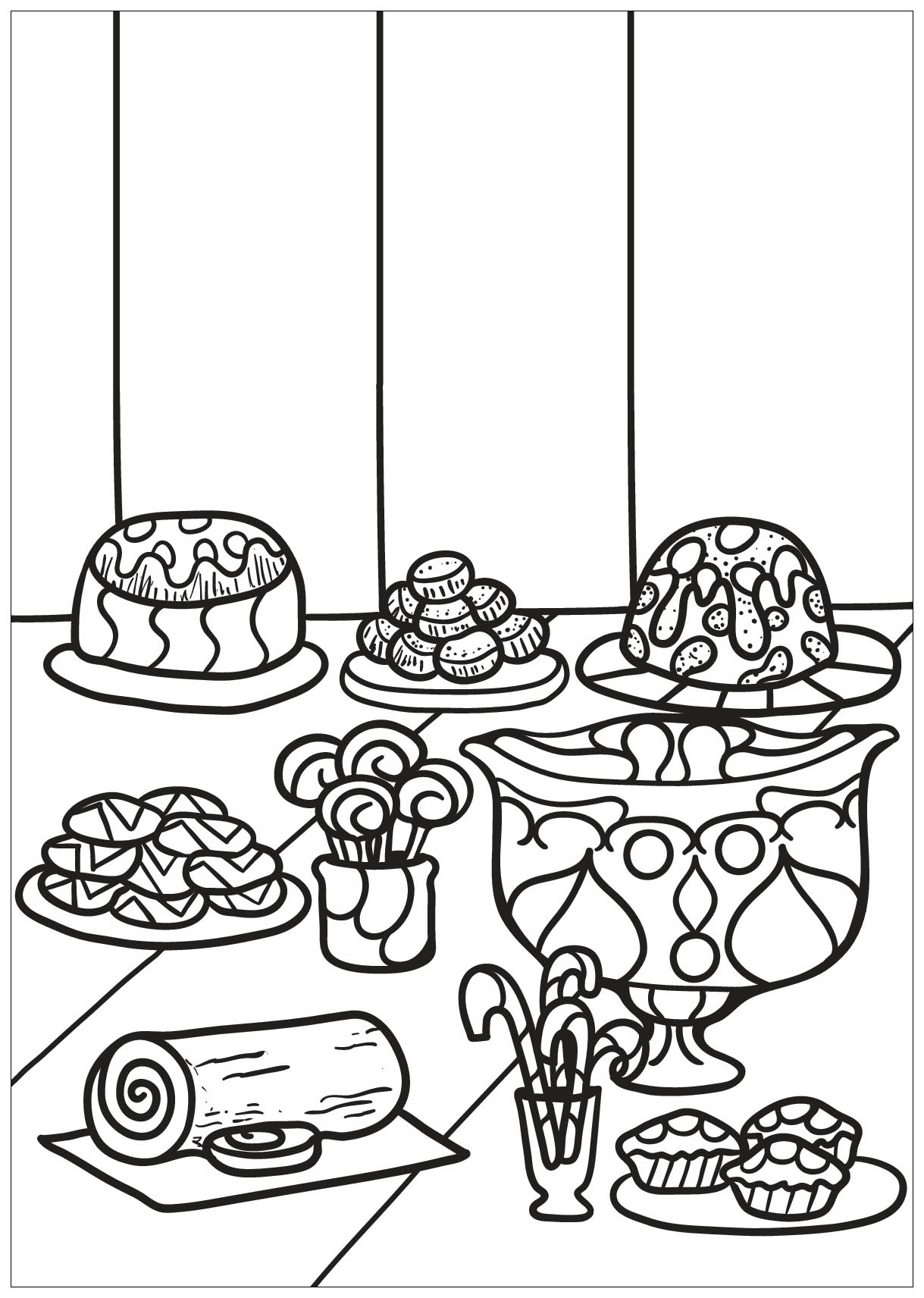 Cupcakes And Cakes coloring page with few details for kids