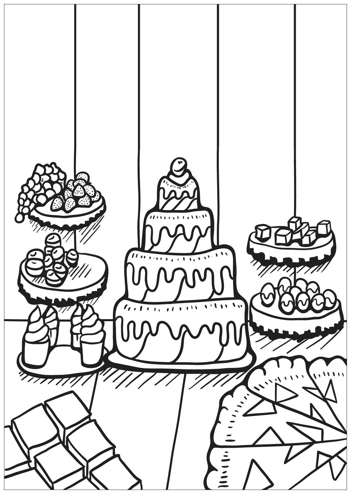 Cupcakes and cakes to color for