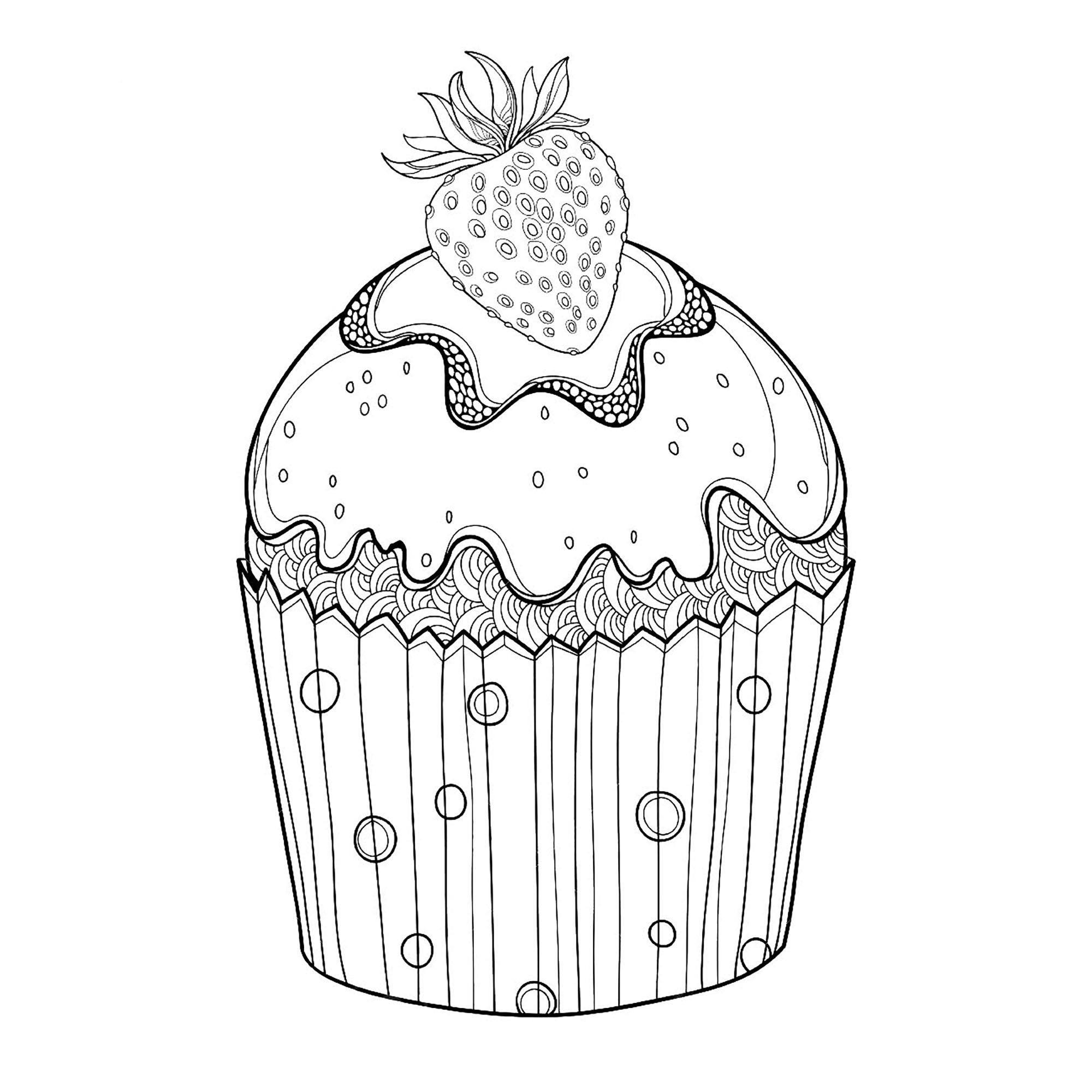 Cute free Cupcakes And Cakes coloring page to download