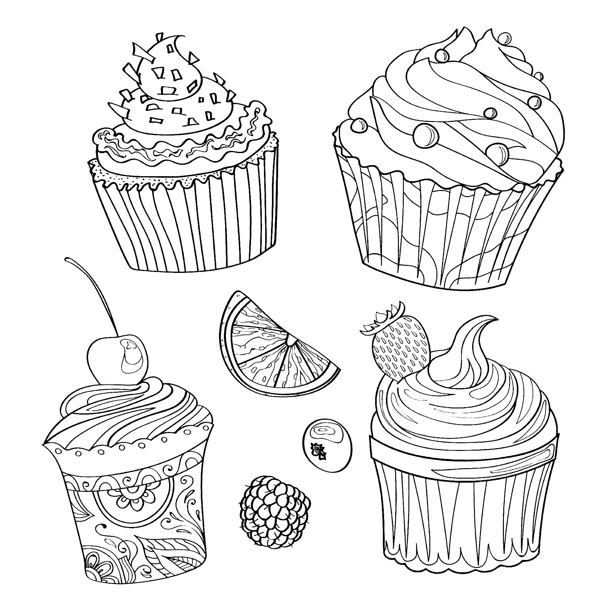 Cupcakes and cakes to color for kids Cupcakes And Cakes