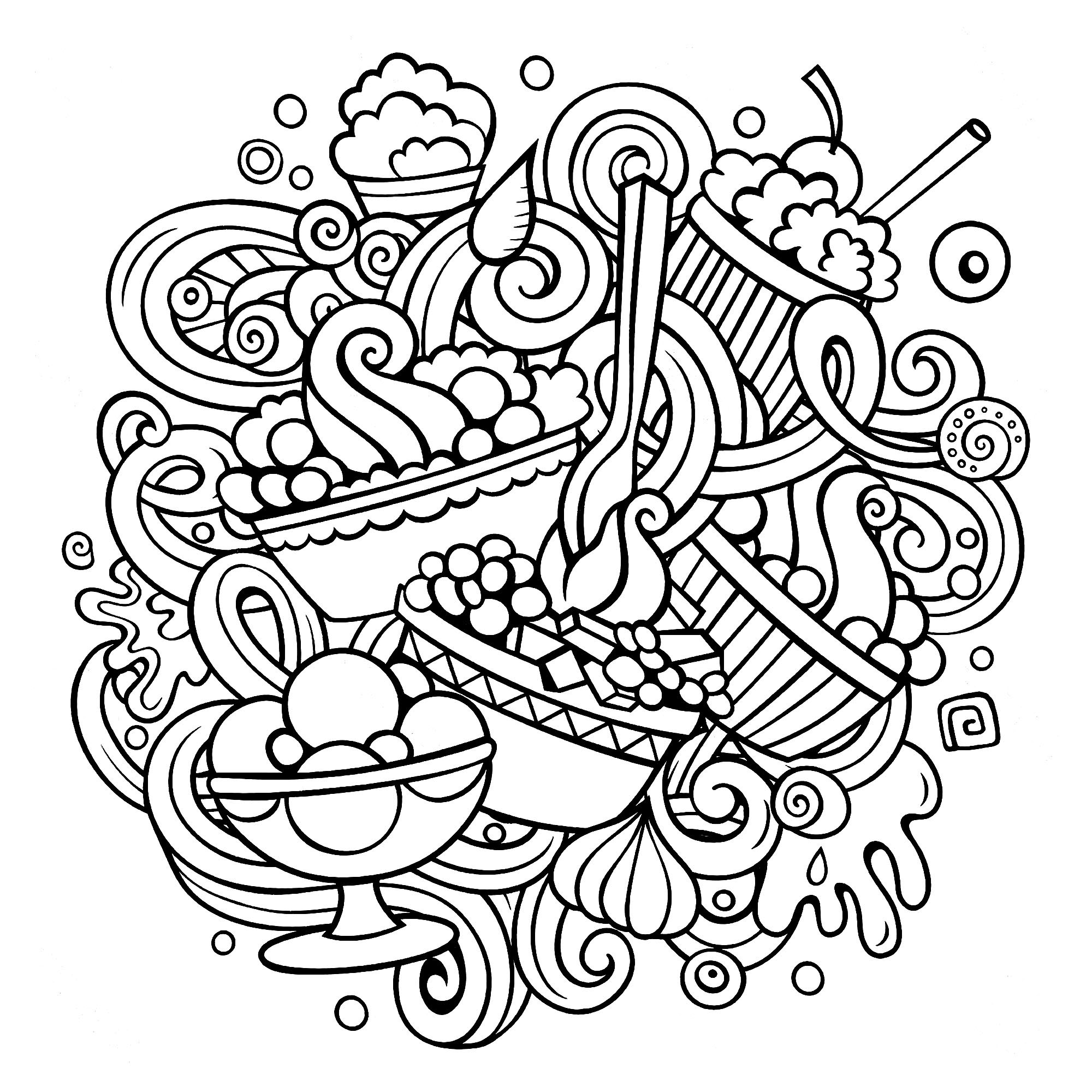 Beautiful Cupcakes And Cakes coloring page