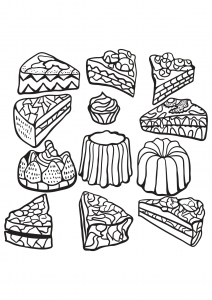Coloring page cupcakes and cakes free to color for kids