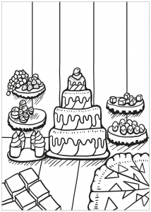 Coloring page cupcakes and cakes to color for children