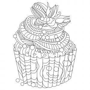 Coloring page cupcakes and cakes to print