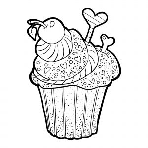Coloring page cupcakes and cakes for kids