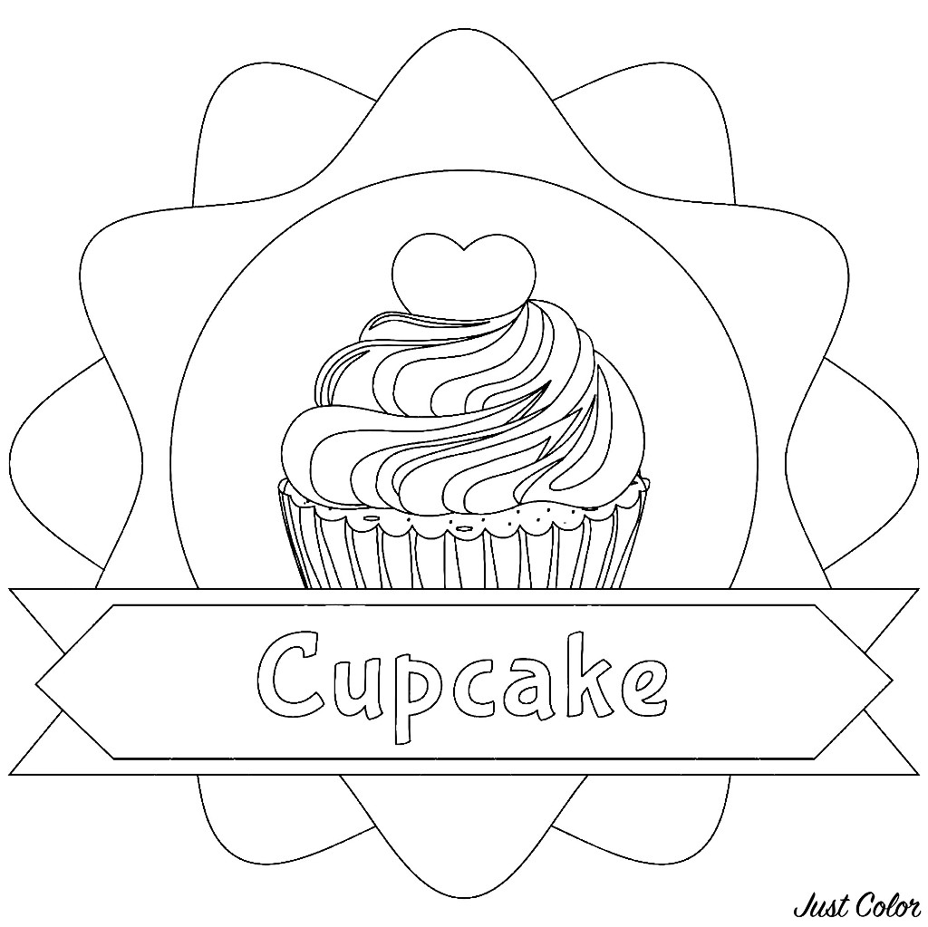 Simple Cupcakes And Cakes coloring page to download for free