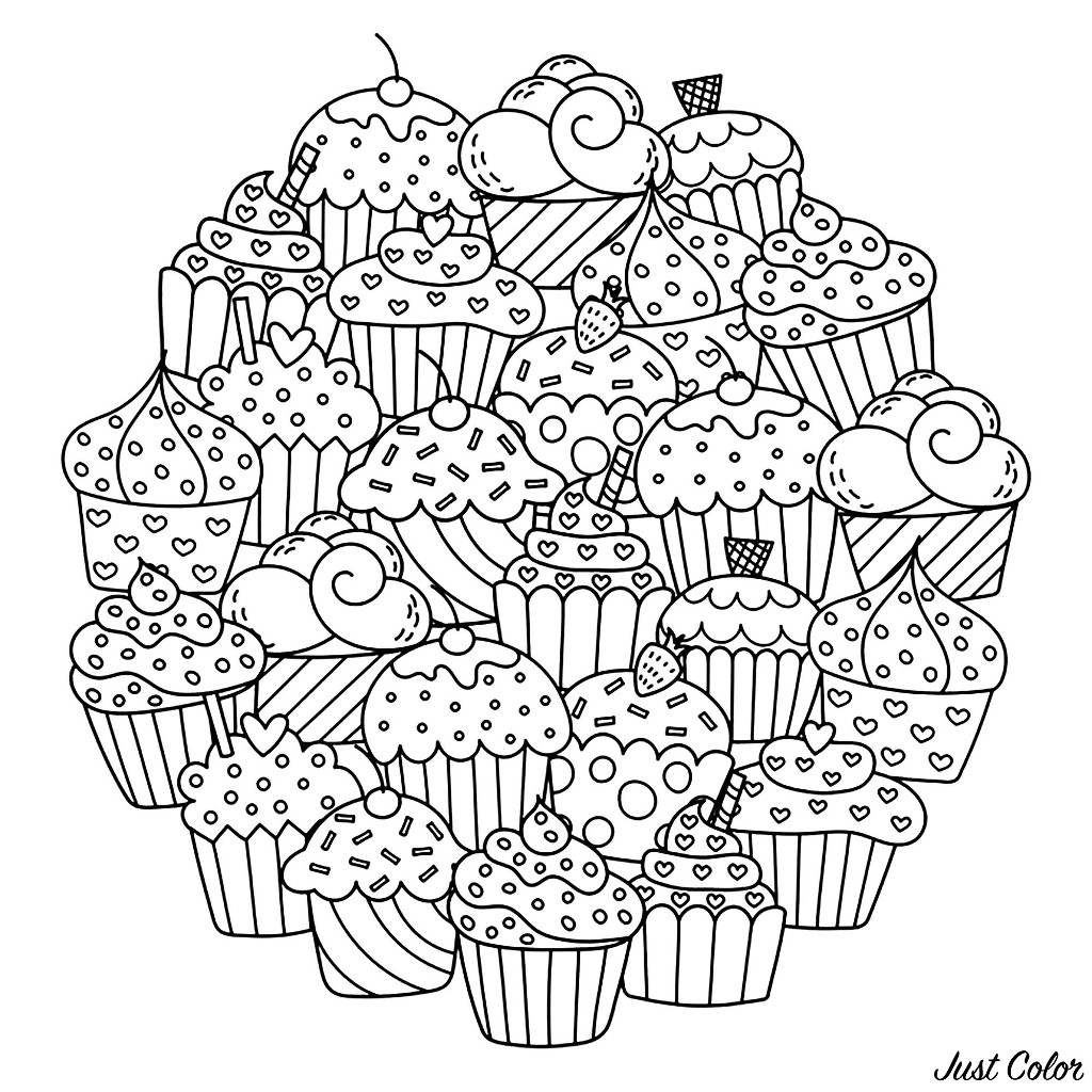 Easy free Cupcakes And Cakes coloring page to download