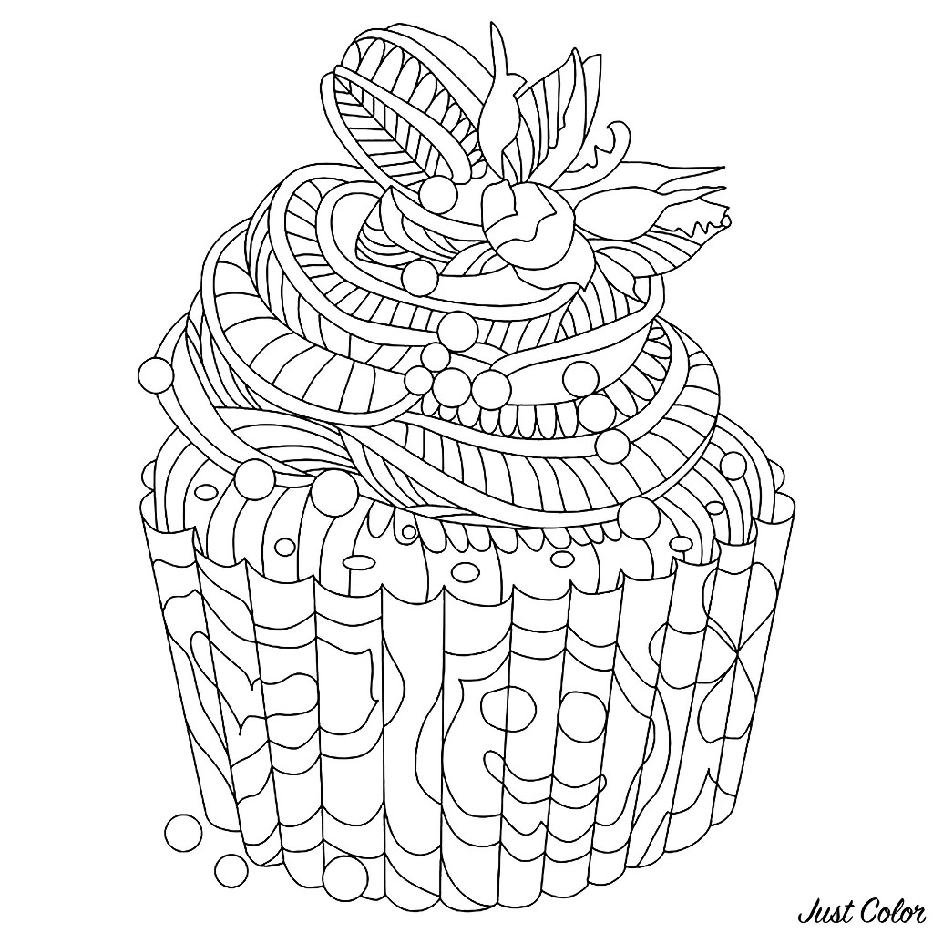 Funny free Cupcakes And Cakes coloring page to print and color