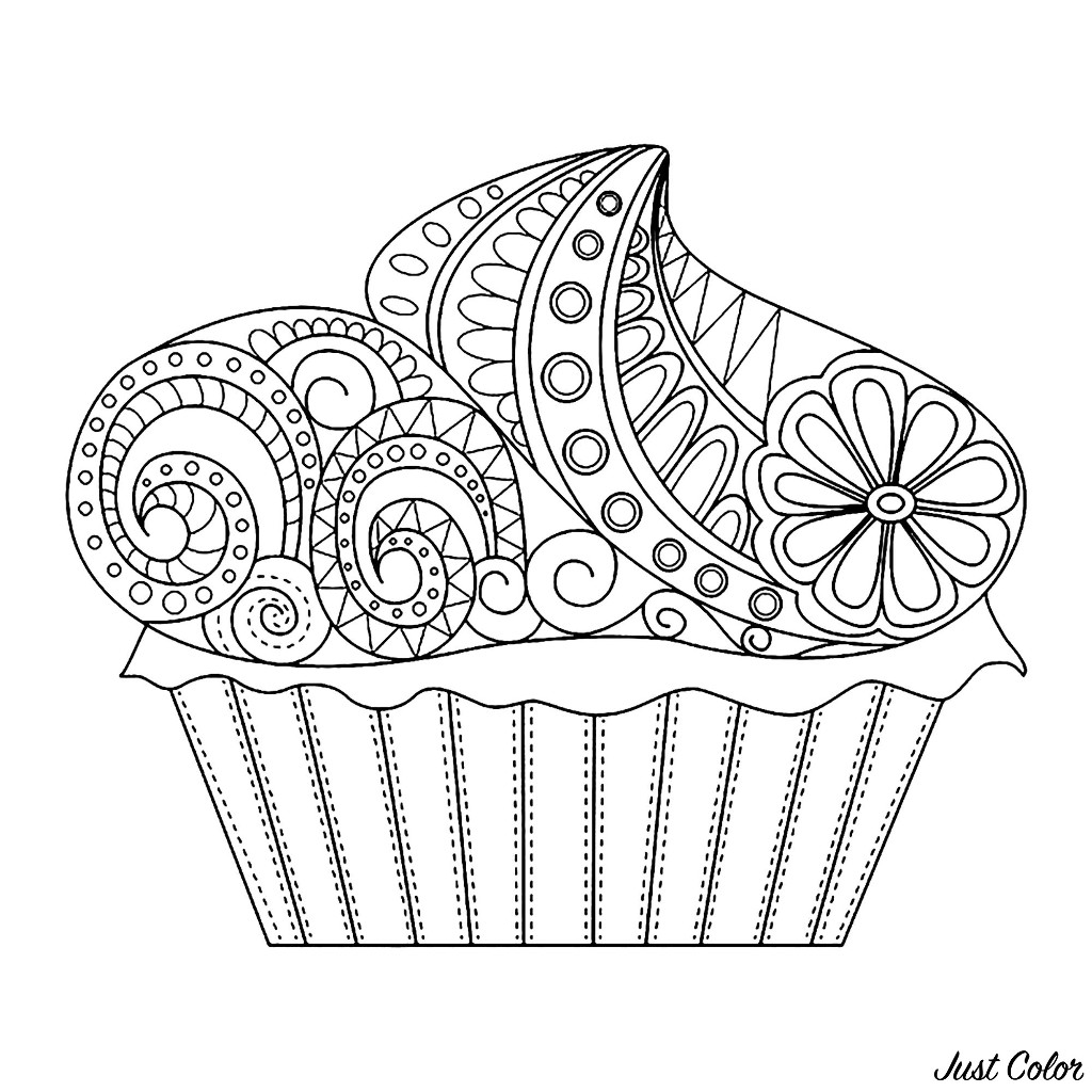 Free Cupcakes And Cakes coloring page to print and color, for kids