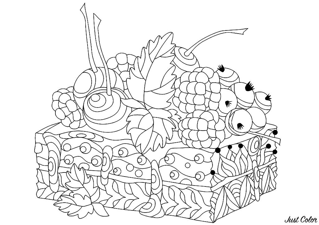 Simple Cupcakes And Cakes coloring page for kids
