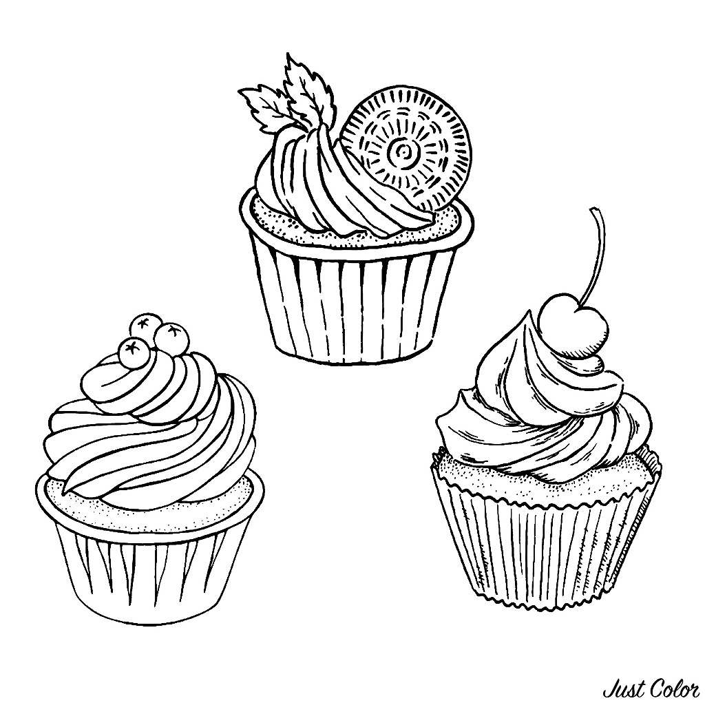 Funny Cupcakes And Cakes coloring page for kids