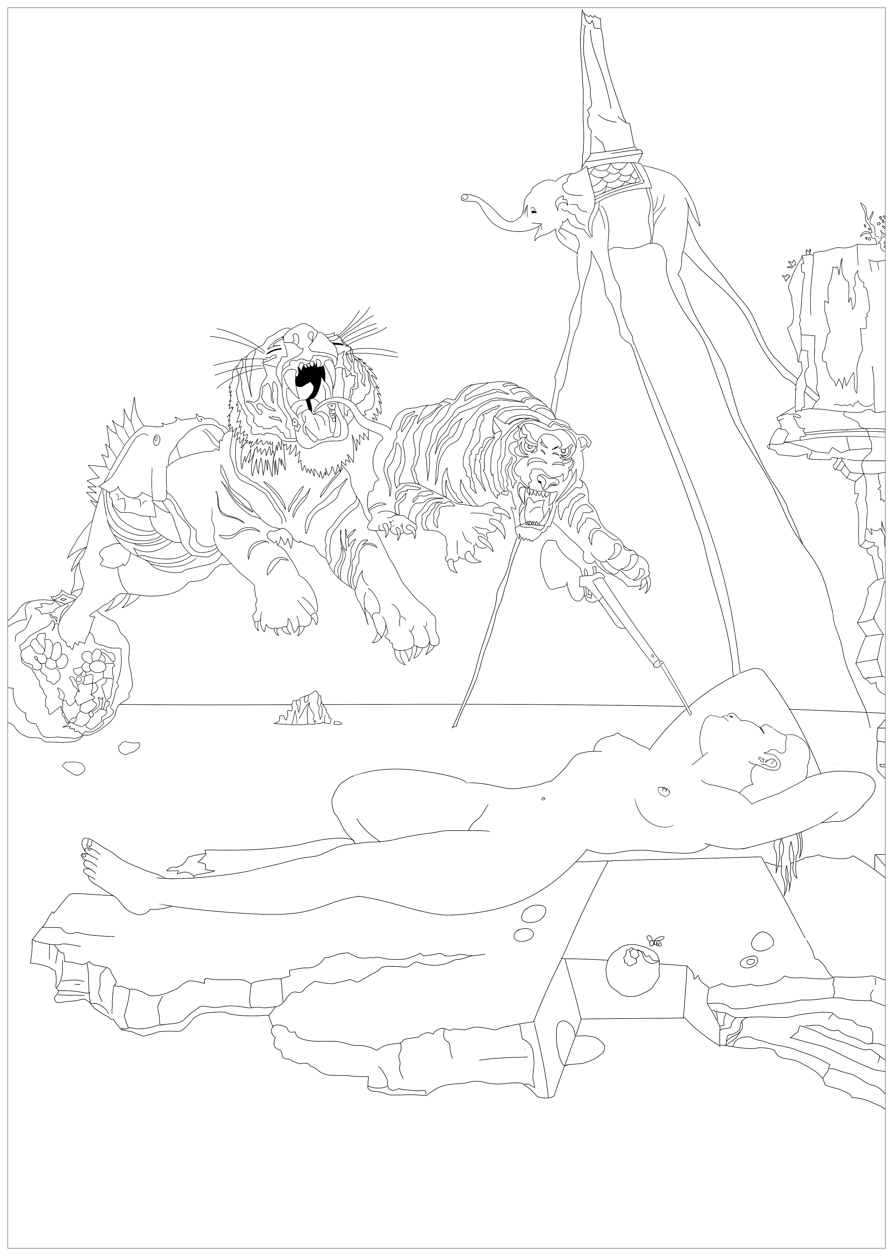 Dali coloring page to print and color