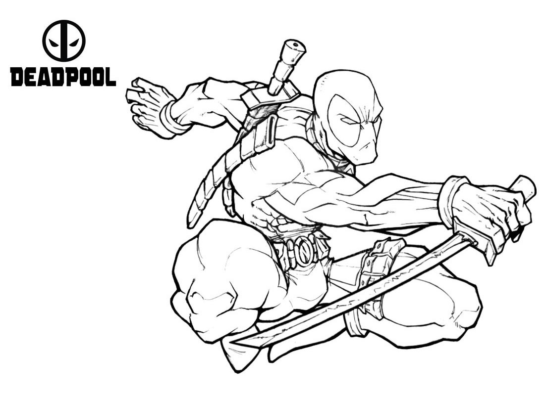 Beautiful Deadpool coloring page