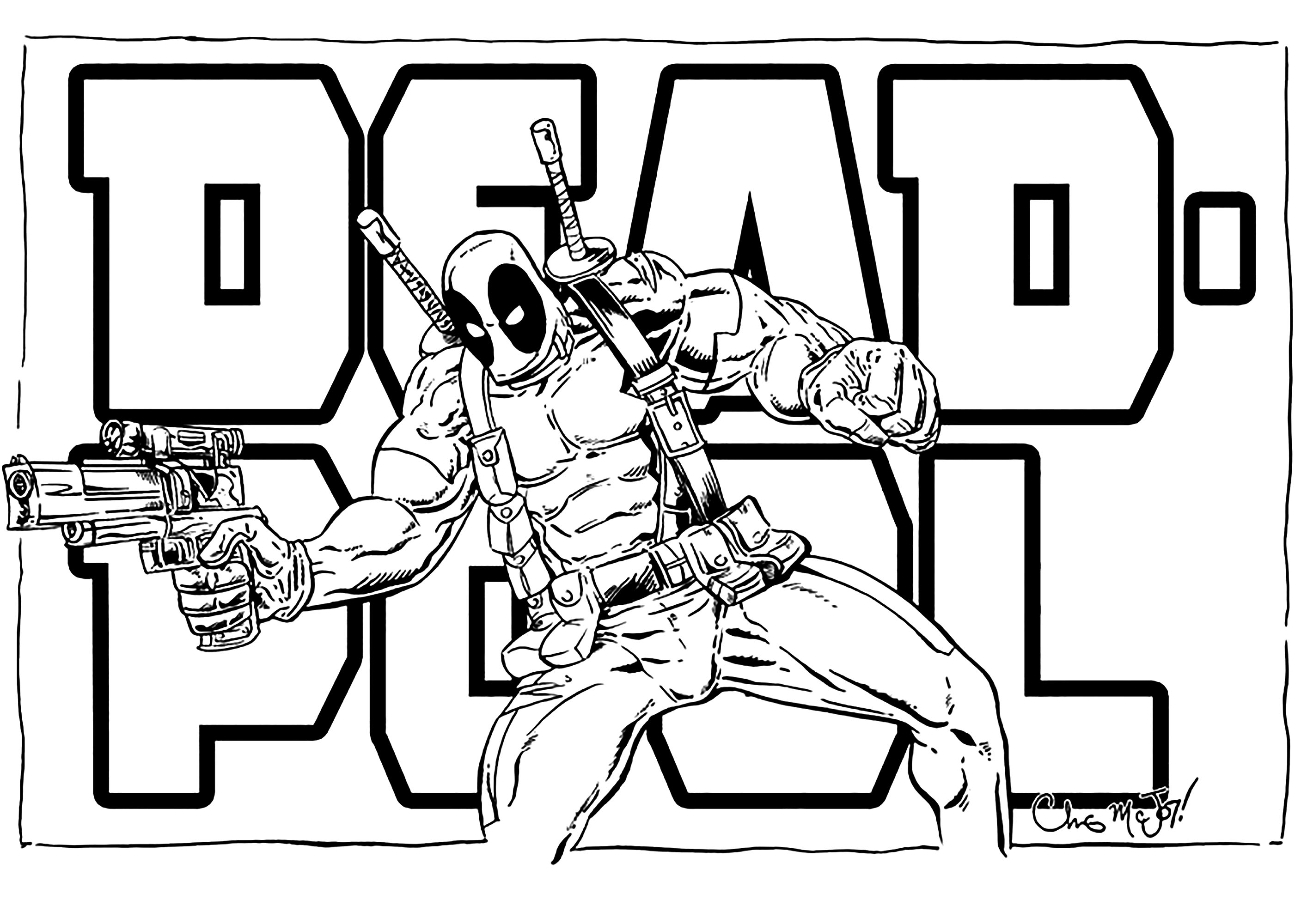 Free Deadpool coloring page to print and color