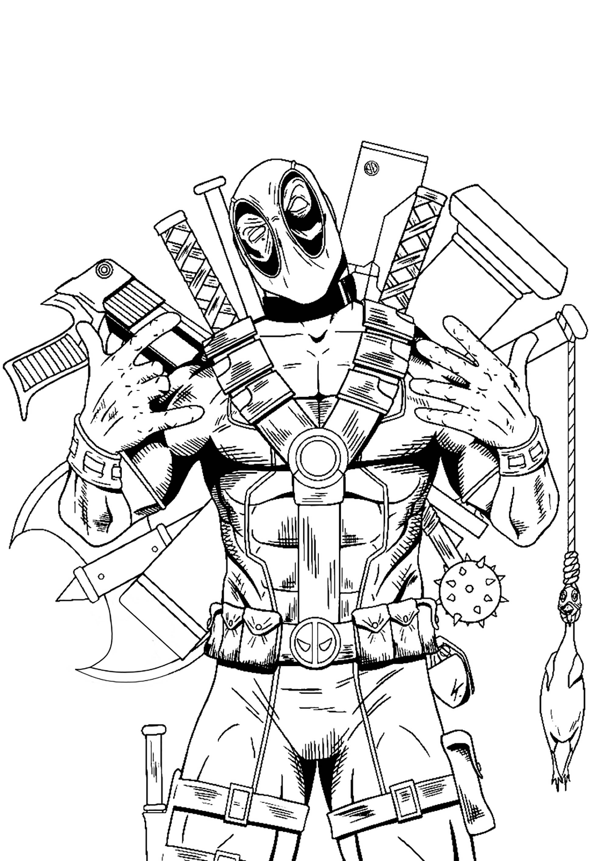 Deadpool coloring page to download for free