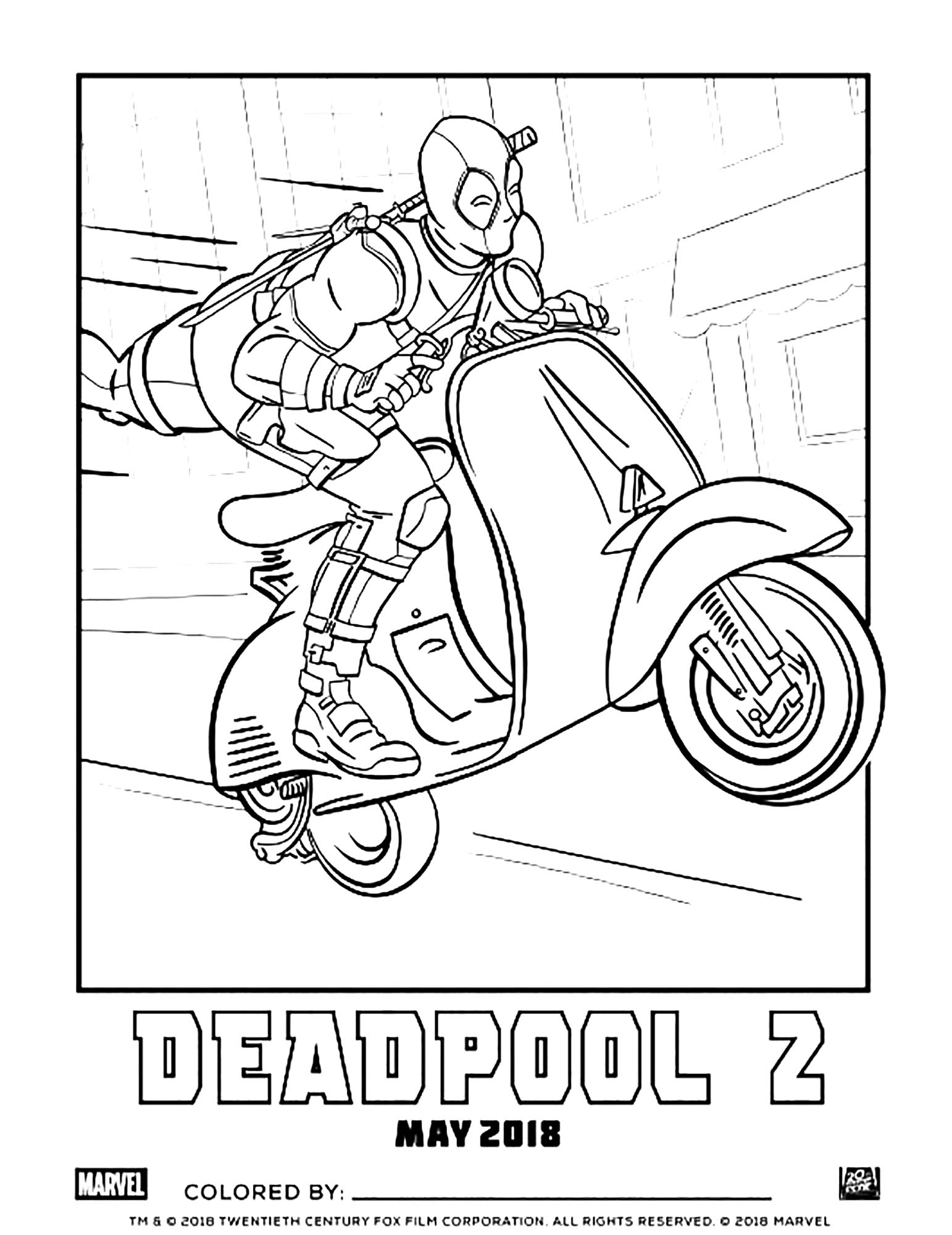 Deadpool coloring page to print and color