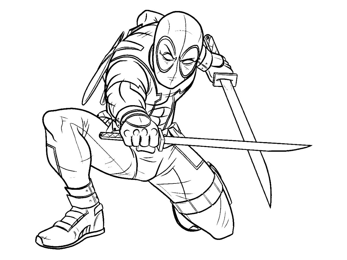 Deadpool coloring page to download