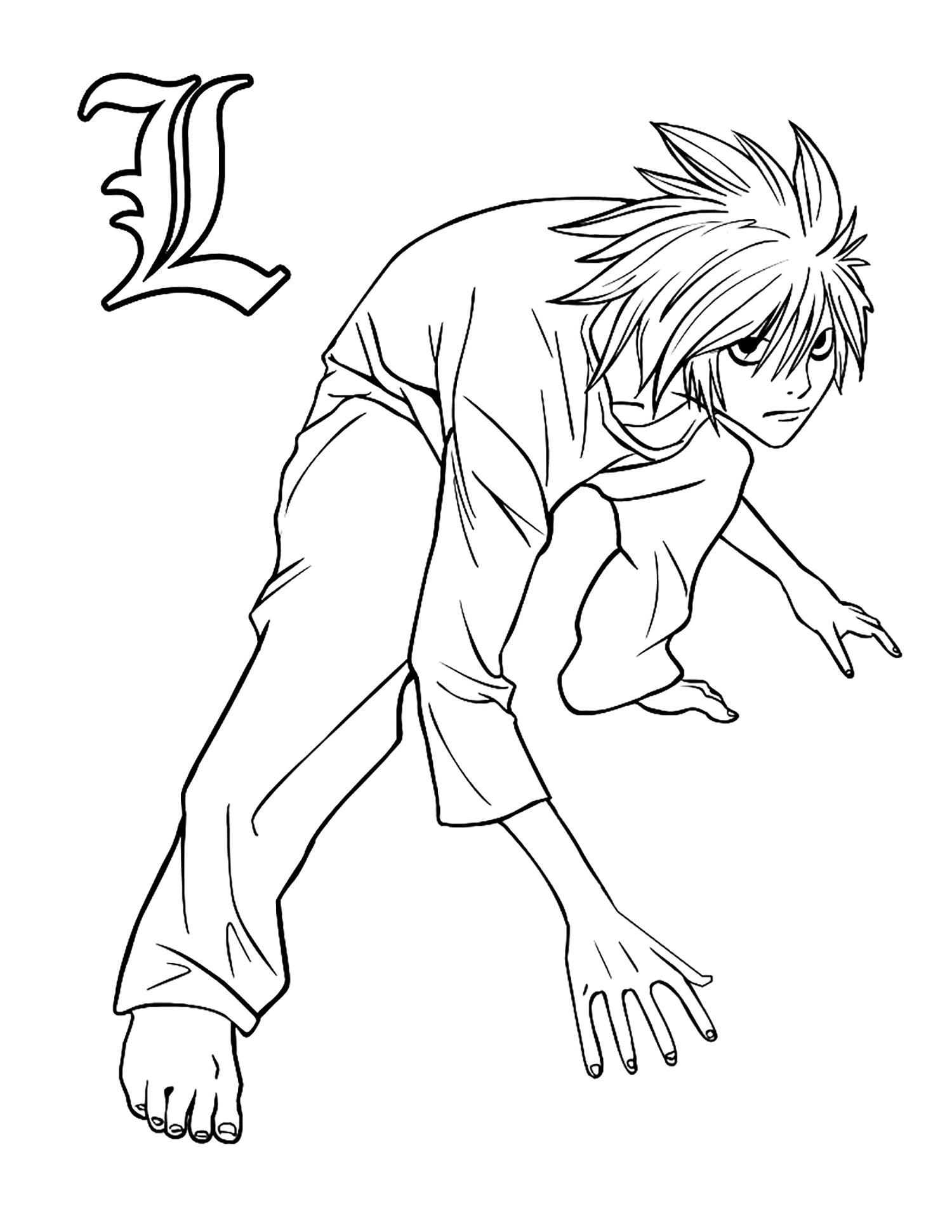 Funny free Death note coloring page to print and color