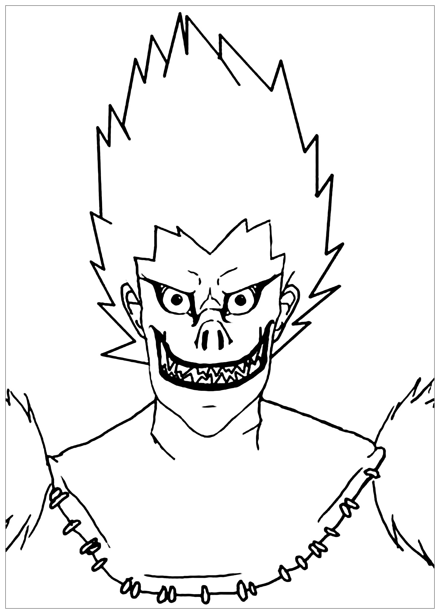 Death note coloring page to print and color for free